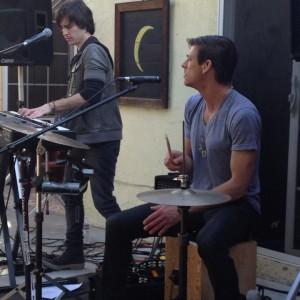 Backyard concert at Pamela Des Barres' casa, with Shay Godwin (percussion)
